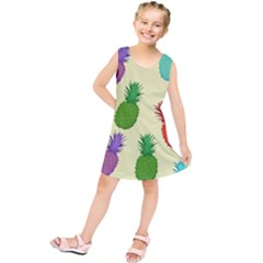 Colorful Pineapples Wallpaper Background Kids  Tunic Dress by Simbadda
