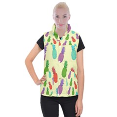 Colorful Pineapples Wallpaper Background Women s Button Up Puffer Vest by Simbadda