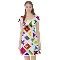 A Colorful Modern Illustration For Lovers Short Sleeve Skater Dress by Simbadda