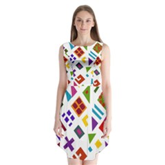 A Colorful Modern Illustration For Lovers Sleeveless Chiffon Dress   by Simbadda