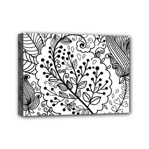 Black Abstract Floral Background Mini Canvas 7  X 5