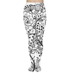 Black Abstract Floral Background Women s Tights by Simbadda