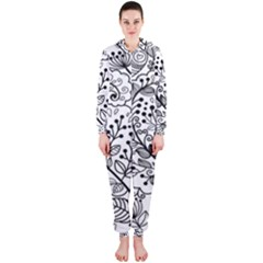 Black Abstract Floral Background Hooded Jumpsuit (ladies)