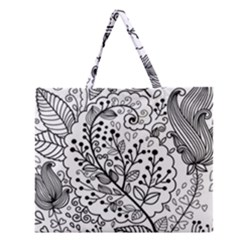 Black Abstract Floral Background Zipper Large Tote Bag by Simbadda