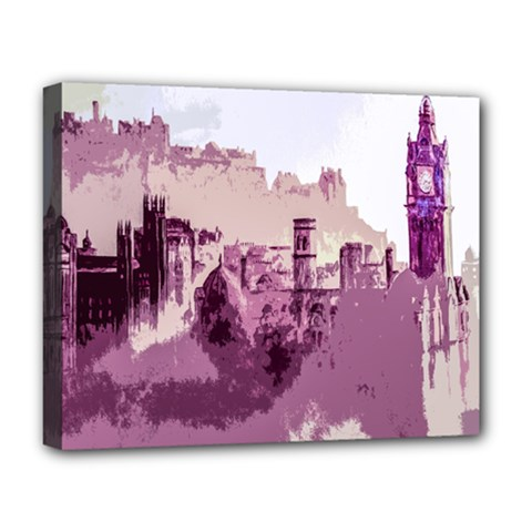 Abstract Painting Edinburgh Capital Of Scotland Deluxe Canvas 20  X 16   by Simbadda