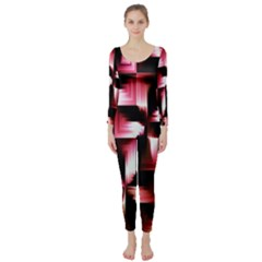 Red And Pink Abstract Background Long Sleeve Catsuit