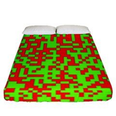 Colorful Qr Code Digital Computer Graphic Fitted Sheet (queen Size) by Simbadda