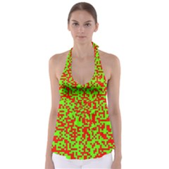Colorful Qr Code Digital Computer Graphic Babydoll Tankini Top