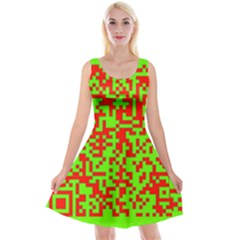 Colorful Qr Code Digital Computer Graphic Reversible Velvet Sleeveless Dress by Simbadda