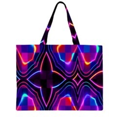 Rainbow Abstract Background Pattern Zipper Large Tote Bag by Simbadda