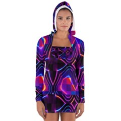 Rainbow Abstract Background Pattern Women s Long Sleeve Hooded T Shirt
