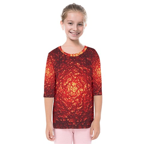 Abstract Red Lava Effect Kids  Quarter Sleeve Raglan Tee by Simbadda