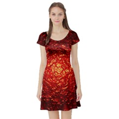 Abstract Red Lava Effect Short Sleeve Skater Dress