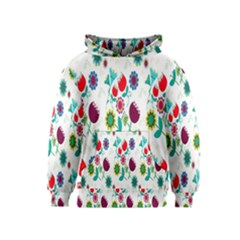 Lindas Flores Colorful Flower Pattern Kids  Pullover Hoodie