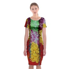 Colorful Hawaiian Lei Flowers Classic Short Sleeve Midi Dress by Simbadda