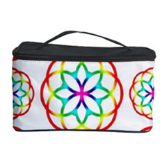 Geometric Circles Seamless Rainbow Colors Geometric Circles Seamless Pattern On White Background Cosmetic Storage Case