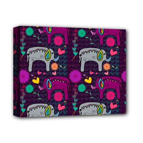 Colorful Elephants Love Background Deluxe Canvas 14  X 11  by Simbadda