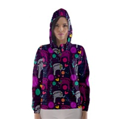 Colorful Elephants Love Background Hooded Wind Breaker (women) by Simbadda