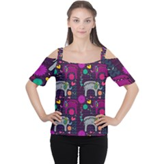 Colorful Elephants Love Background Women s Cutout Shoulder Tee