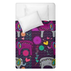 Colorful Elephants Love Background Duvet Cover Double Side (single Size) by Simbadda