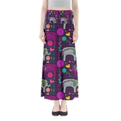 Colorful Elephants Love Background Maxi Skirts