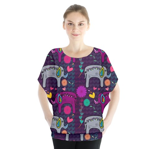Colorful Elephants Love Background Blouse by Simbadda