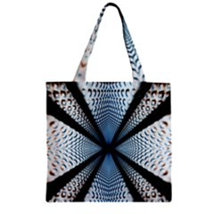 Dimension Metal Abstract Obtained Through Mirroring Zipper Grocery Tote Bag by Simbadda