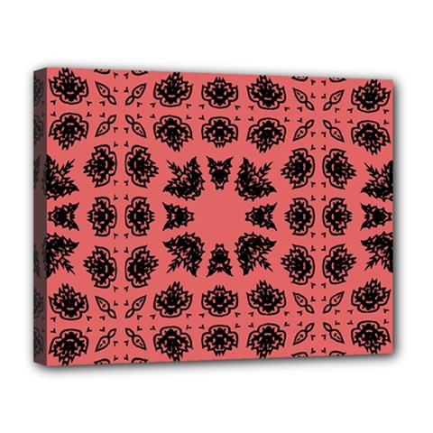 Digital Computer Graphic Seamless Patterned Ornament In A Red Colors For Design Canvas 14  X 11  by Simbadda