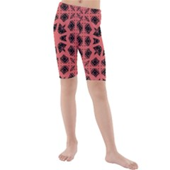 Digital Computer Graphic Seamless Patterned Ornament In A Red Colors For Design Kids  Mid Length Swim Shorts by Simbadda