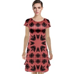 Digital Computer Graphic Seamless Patterned Ornament In A Red Colors For Design Cap Sleeve Nightdress