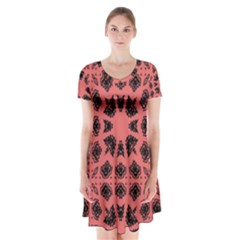 Digital Computer Graphic Seamless Patterned Ornament In A Red Colors For Design Short Sleeve V Neck Flare Dress