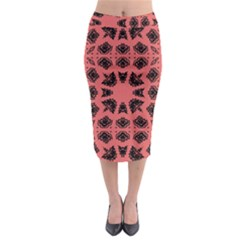 Digital Computer Graphic Seamless Patterned Ornament In A Red Colors For Design Midi Pencil Skirt by Simbadda