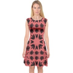 Digital Computer Graphic Seamless Patterned Ornament In A Red Colors For Design Capsleeve Midi Dress