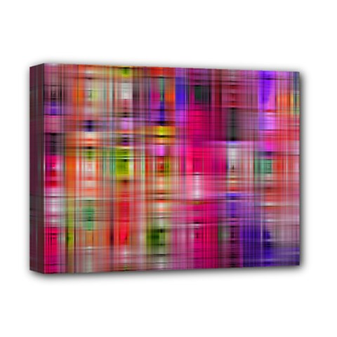 Background Abstract Weave Of Tightly Woven Colors Deluxe Canvas 16  X 12   by Simbadda