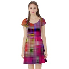 Background Abstract Weave Of Tightly Woven Colors Short Sleeve Skater Dress