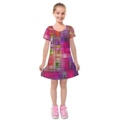 Background Abstract Weave Of Tightly Woven Colors Kids  Short Sleeve Velvet Dress by Simbadda