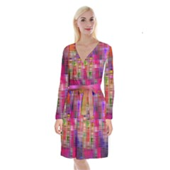 Background Abstract Weave Of Tightly Woven Colors Long Sleeve Velvet Front Wrap Dress by Simbadda