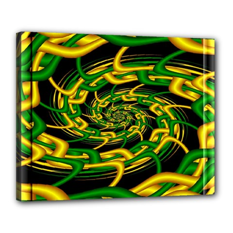 Green Yellow Fractal Vortex In 3d Glass Canvas 20  X 16  by Simbadda
