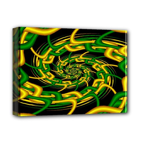 Green Yellow Fractal Vortex In 3d Glass Deluxe Canvas 16  X 12   by Simbadda