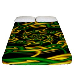 Green Yellow Fractal Vortex In 3d Glass Fitted Sheet (king Size) by Simbadda
