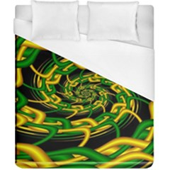 Green Yellow Fractal Vortex In 3d Glass Duvet Cover (california King Size) by Simbadda