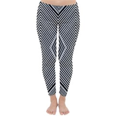 Black And White Line Abstract Classic Winter Leggings