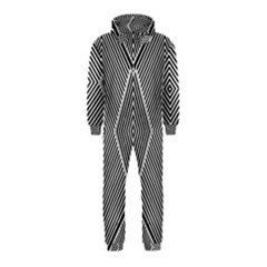 Black And White Line Abstract Hooded Jumpsuit (kids)