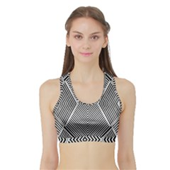 Black And White Line Abstract Sports Bra With Border by Simbadda