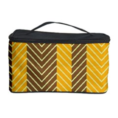 Brown And Orange Herringbone Pattern Wallpaper Background Cosmetic Storage Case by Simbadda