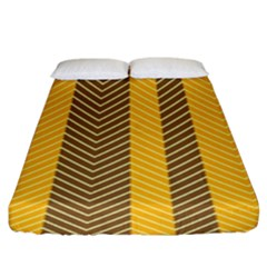 Brown And Orange Herringbone Pattern Wallpaper Background Fitted Sheet (king Size) by Simbadda