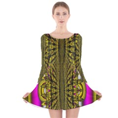 Fractal In Purple And Gold Long Sleeve Velvet Skater Dress