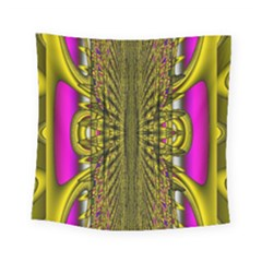 Fractal In Purple And Gold Square Tapestry (small) by Simbadda
