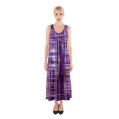 Purple Wave Abstract Background Shades Of Purple Tightly Woven Sleeveless Maxi Dress
