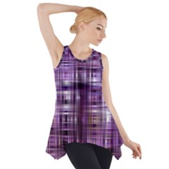 Purple Wave Abstract Background Shades Of Purple Tightly Woven Side Drop Tank Tunic
